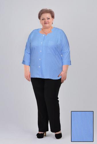 """Блуза """"Раиса"""" (арт.203) голубая полоска (Киргизия) — размеры 60, 62, 66, 68"""