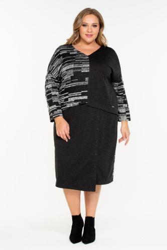 """Платье """"Браво"""" (ОК19-048) серый с отделкой (Терра, Москва) — размеры 60-62, 64-66"""